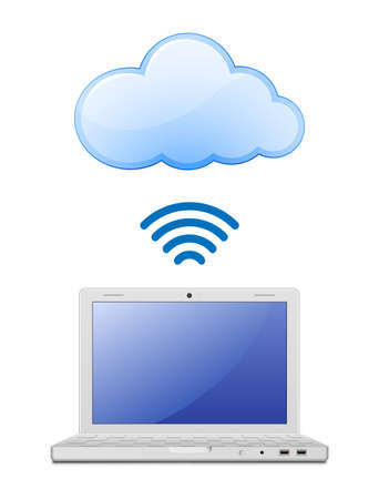 wireless lan: Wireless connection to cloud computing network Illustration