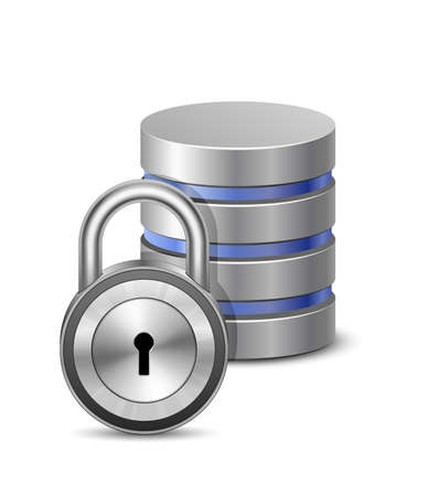 protected database: Base de datos de seguridad de base de datos concepto de signo y un candado Ilustraci�n del vector de la base de datos protegida Vectores