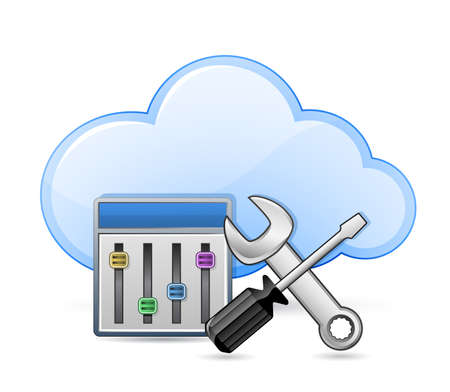 hardware configuration: Cloud server optimization and configuration concept  Screwdriver and spanner tools and cloud  Vector illustration