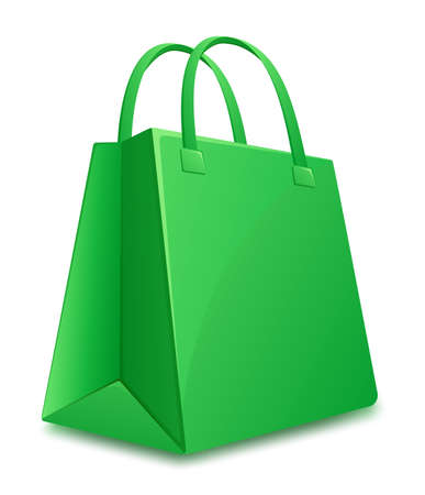 Green shopping bag  Vector illustration Vector