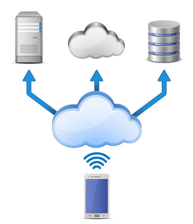 wireless lan: Cloud Computing wireless connect illustration