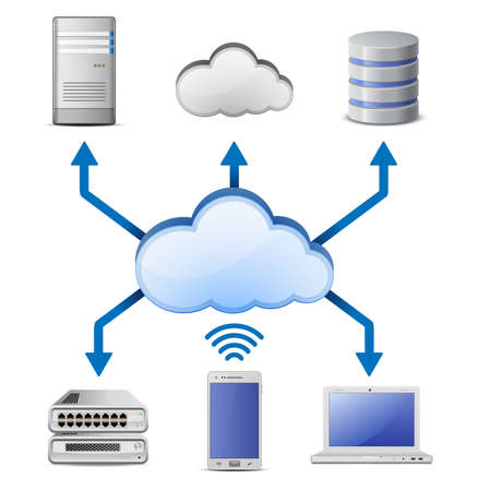 Cloud Computing Concept  Server, database and laptop connected to cloud computing network Stock Vector - 13876897