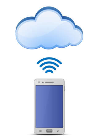 wireless lan: Smart phone and wireless connection to cloud network   Illustration