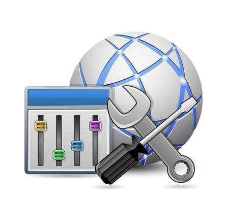 hardware configuration: Site optimization and configuration concept  Screwdriver and spanner tools with configuration panel on abstract globe   Illustration