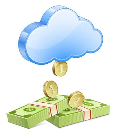 アフィリ エイトのマーケティング コンセプトお金を稼ぐ、雲から