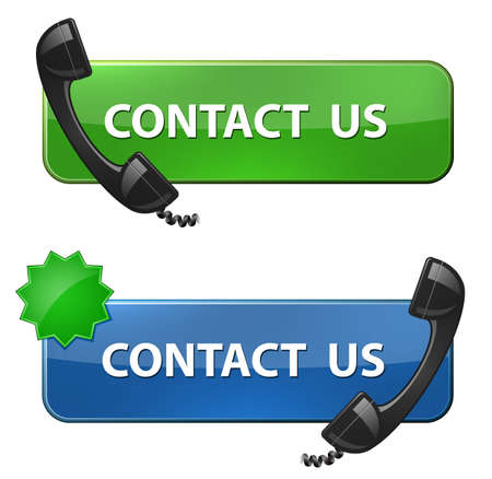 telephone receiver:  Contact Us  icon  Phone receiver and contact us button  Vector illustration