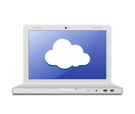 wireless lan: Laptop and cloud computing sign illustration of laptop and cloud computing technology