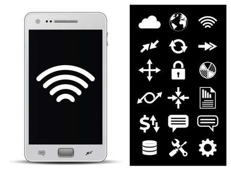 18 icons - wireless technology, network, internet, finance and security