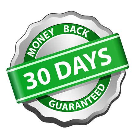 guarantee seal: 30 d�as garant�a de devolver el dinero signo ilustraci�n vectorial