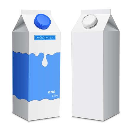 スクリュー キャップでミルク シュートボクセ テンプレート牛乳パック  イラスト・ベクター素材