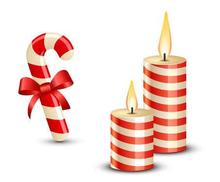 luz de velas: Navidad del bastón de caramelo y velas ilustración