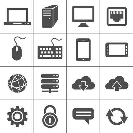 raton: Simplus iconos de la serie y de red Conexiones de red m�viles dispositivos Vectores