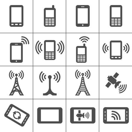mobile devices: Simplus icons series  Mobile devices and wireless technology Illustration