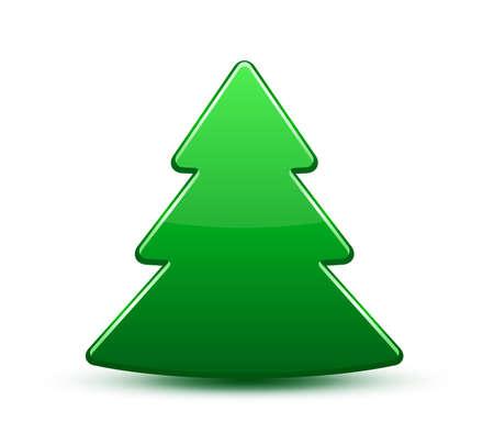 tree logo: Christmas tree icon  Glossy plastic tree icon