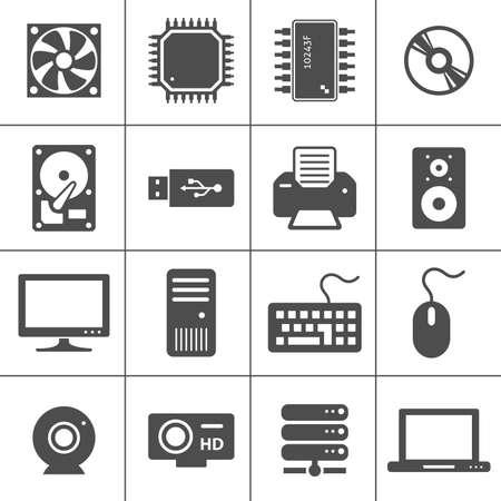 コンピューター ハードウェア アイコン PC コンポーネントそれぞれのアイコンは 1 つのオブジェクトの複合パスです。