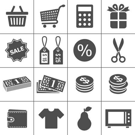 supermarket shopping cart: Iconos de compras cada icono es una ruta de objeto �nico compuesto