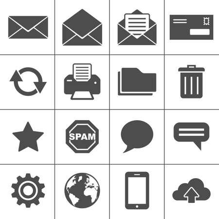 cesto basura: Iconos de correo electr�nico Vectores