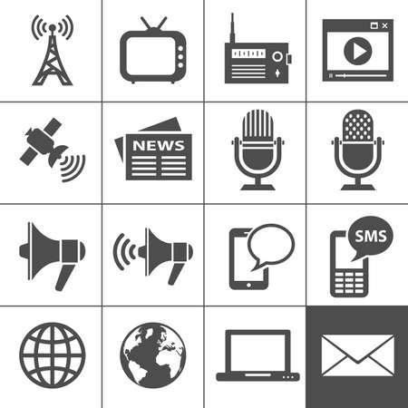 microfono de radio: Medios Iconos Cada icono es un objeto único Vectores