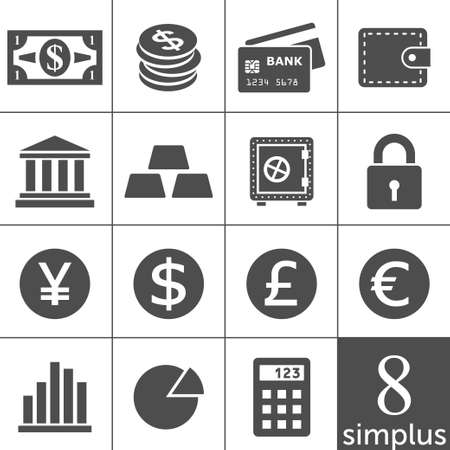 Finance Icons  Each icon is a single object  compound path Stock Vector - 15557457