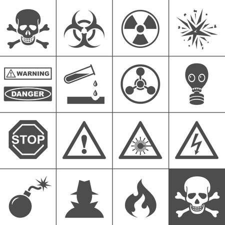 infectious waste: Danger and warning icons