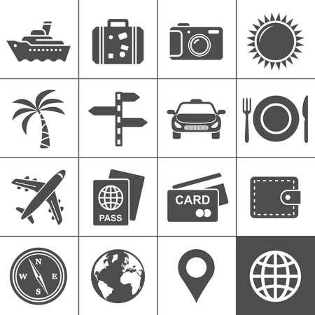 passeport: Voyages et tourisme icon set Simplus s�rie Chaque ic�ne est un chemin d'objet unique compos� Illustration