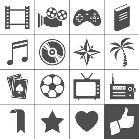 simplus: Entertainment icon set  Simplus series  Each icon is a single object  compound path