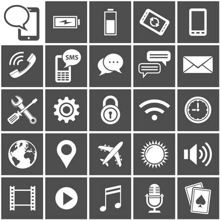 25 Icons for mobile applications Vector