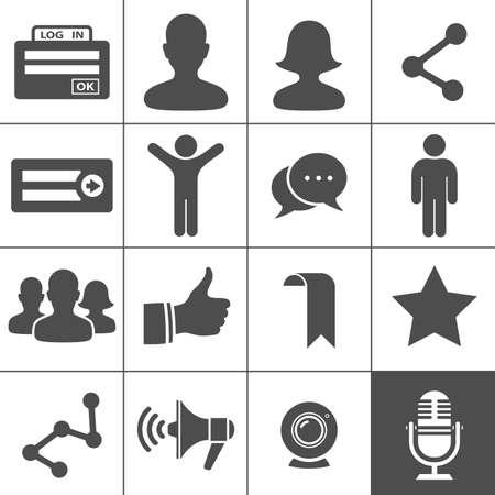 社会的ネットワークのアイコン Simplus シリーズ  イラスト・ベクター素材
