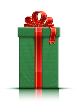 donative: Very realistic illustration of green gift box with ribbon and bow  illustration Illustration
