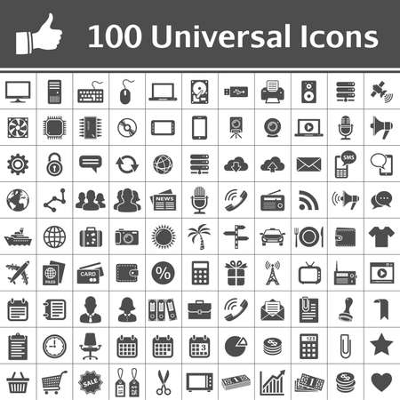 100 Universal Icons  Simplus series  Each icon is a single object  compound path  Vector