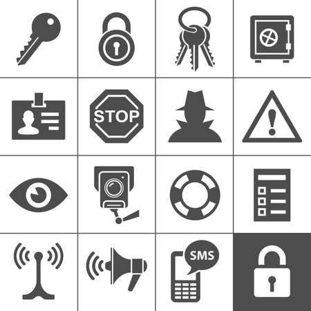 Security and warning icons  Simplus series Illustration Vector