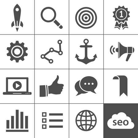 network marketing: Posicionamiento en buscadores, marketing en Internet iconos ilustraci�n Simplus serie
