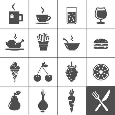 食べ物や飲み物のアイコン セットの飲み物、ファーストフード、果物、野菜 Simplus シリーズ イラスト