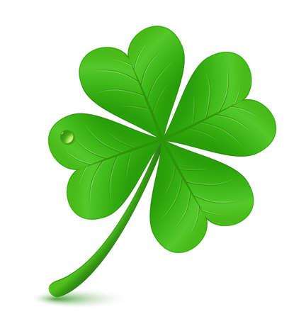 buena suerte: S�mbolo tr�bol de cuatro hojas Ilustraci�n vectorial St Patrick s day Vectores