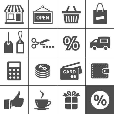 ショッピングのアイコンを設定 Simplus シリーズ  イラスト・ベクター素材