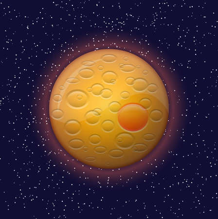 Orange planet and constellations in the night sky Vector
