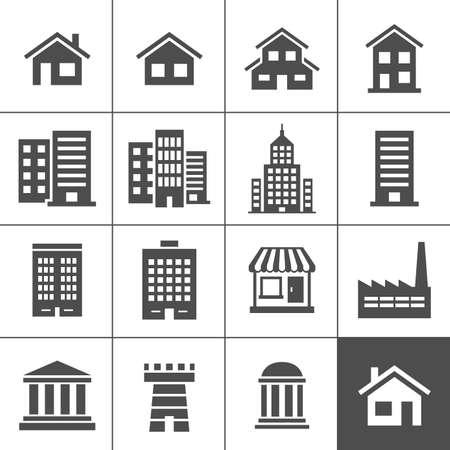 silhouette maison: Icônes de construction Réglez illustration Simplus série