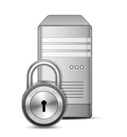 data storage: Protected Sever  IT security concept  Server and padlock