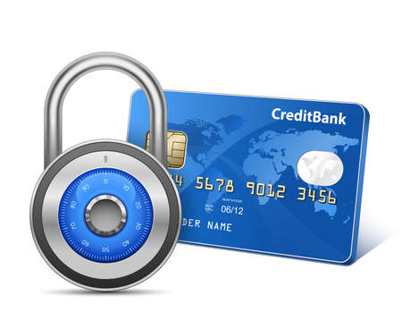 debit: Secure Payment  Credit card and padlock     Illustration