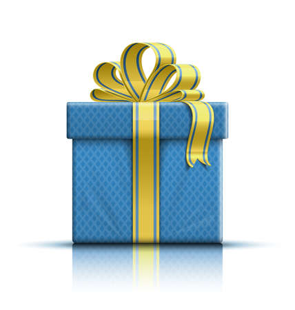 birthday present: Gift box with yellow ribbon and bow
