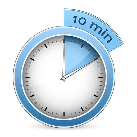 timer: Blue timer  10 minutes  Vector illustration