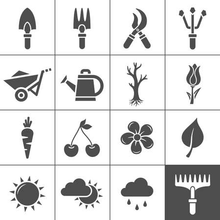 cultivating: Gardening Icons Set  Vector illustration of garden tools  Simplus series
