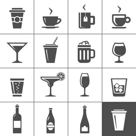filiżanka kawy: Drinki i napoje ustawić szereg ikon Simplus