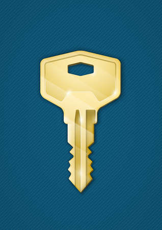 Golden key on blue background  Security comcept  Photo-realistic vector illustration EPS10 Vector