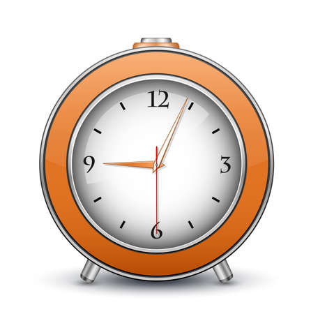 wristwatch: Metallic alarm clock icon  Vector illustration