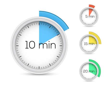 cronometro: Conjunto de temporizadores 5, 10, 15, 20 minutos ilustraci�n Vectores