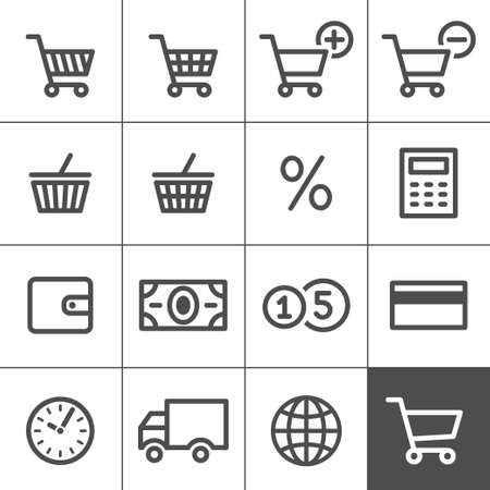 product cart: Shopping Icon Set  Simplines series  illustration