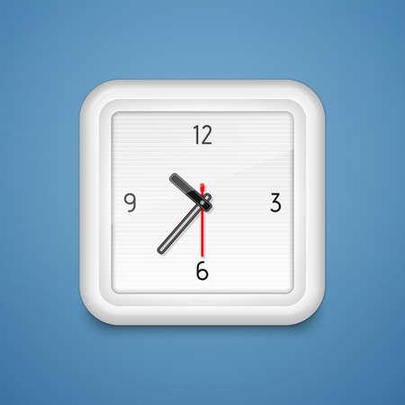 Square analog alarm clock  illustration Stock Vector - 19491090