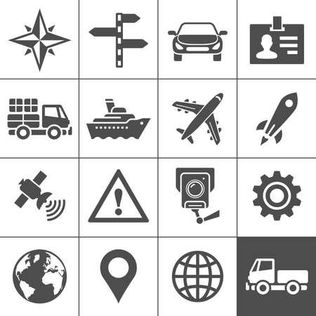 compass rose: Transportation icons  illustration  Simplus series