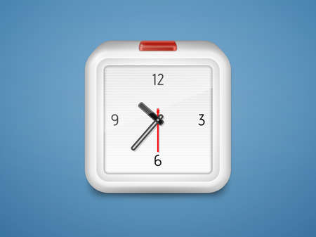 foursquare: Alarm clock with a red button  illustration